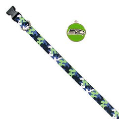 Seattle Seahawks Team Camo Dog Collar and ID Tag by Yellow Dog