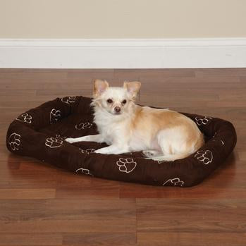 Slumber Pet Embroidered Paw Print Crate Bed - Chocolate