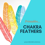 Multi Coloured Feather & Crystals - Sacred Cutout PRINTABLE- Digital DOWNLOAD