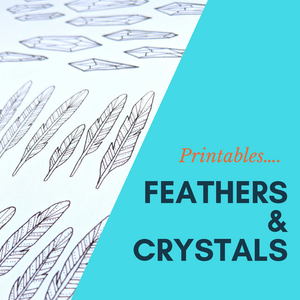 Hand drawn Feathers, Crystals and leaves - Sacred Cutout PRINTABLE- Digital DOWNLOAD