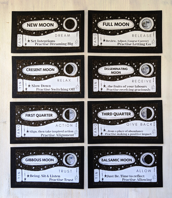 Moon Phases printable cards