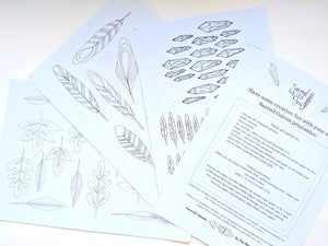 PDF colouring pages feathers and crystals