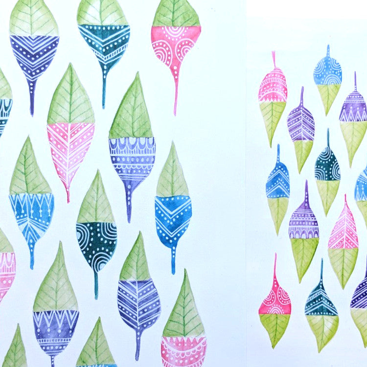 Painted Leaves - Sacred Cutout PRINTABLE- Digital DOWNLOAD