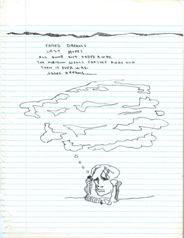 DANIEL JOHNSTON - Faded Dreams - Notebook Page