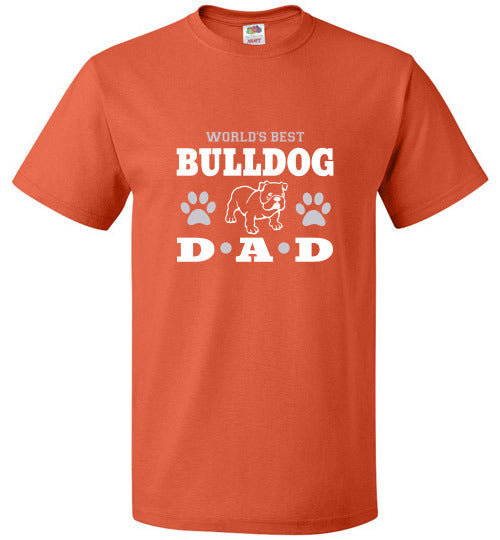 FOL Dog Unisex T-Shirt | World's Best Bulldog Dad - Burnt Orange