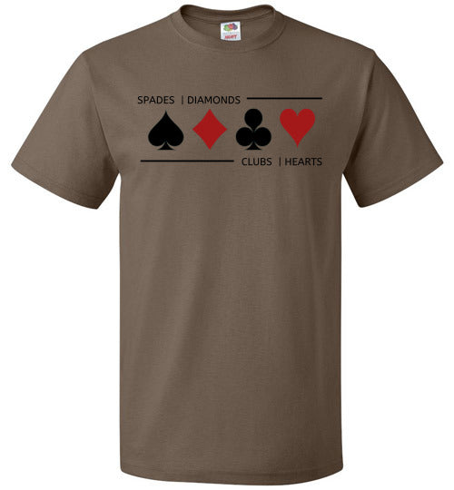 FOL Unisex Playing Card T-Shirt | Card Suits - Chocolate