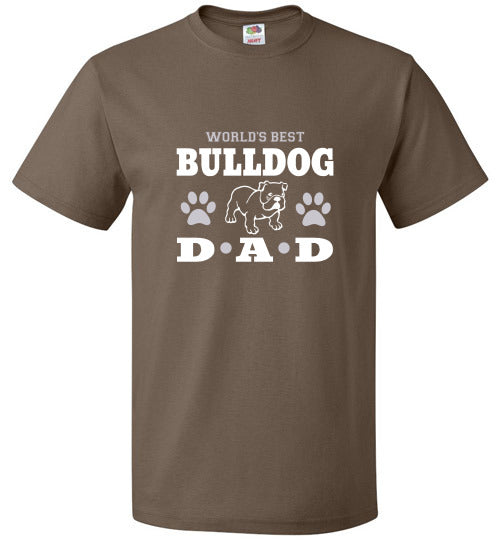 FOL Dog Unisex T-Shirt | World's Best Bulldog Dad - Chocolate