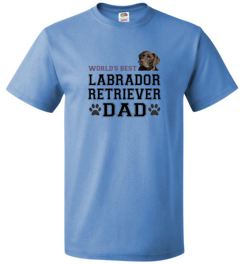 FOL Dog Unisex T-Shirt | World's Best Labrador Retreiver Dad - Columbia Blue