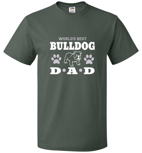 FOL Dog Unisex T-Shirt | World's Best Bulldog Dad - Forest Green