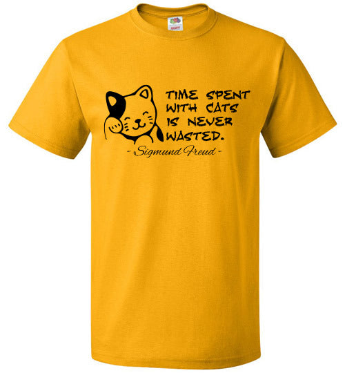 FOL Cats Unisex T-Shirt - Sigmund Freud - Time spent with cats is never wasted. - Gold
