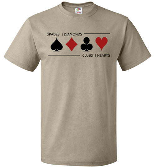 FOL Unisex Playing Card T-Shirt | Card Suits - Khaki