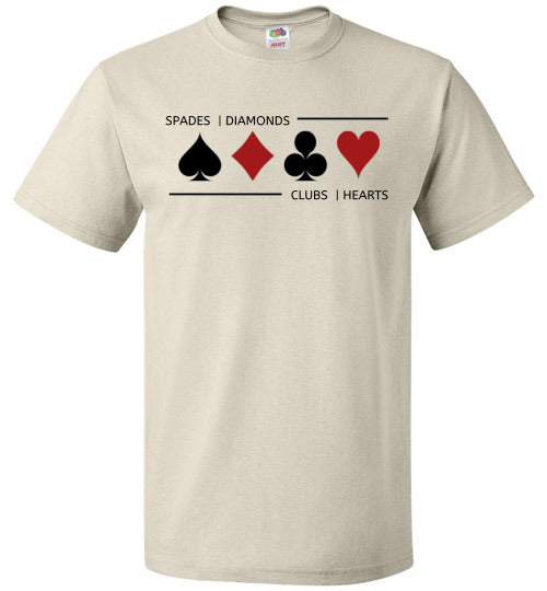 FOL Unisex Playing Card T-Shirt | Card Suits - Natural