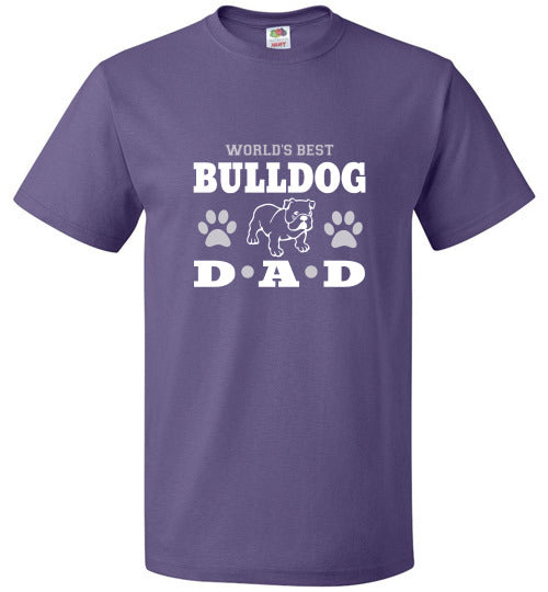 FOL Dog Unisex T-Shirt | World's Best Bulldog Dad - Purple