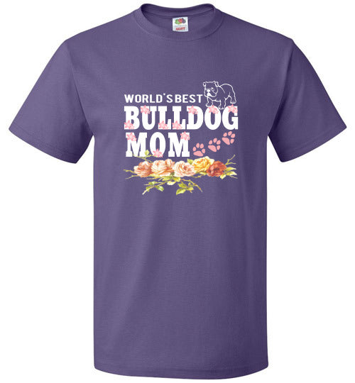 FOL Dog Unisex T-Shirt | World's Best Bulldog Mom - Purple
