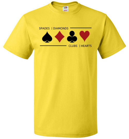 FOL Unisex Playing Card T-Shirt | Card Suits - Yellow