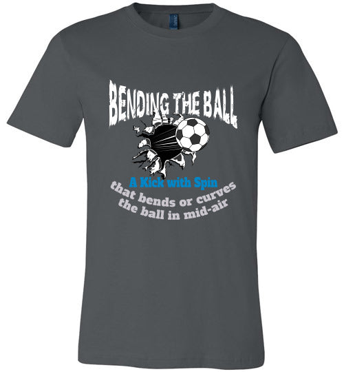 Sports Soccer Niche T-Shirt - Bending The Ball - Asphalt