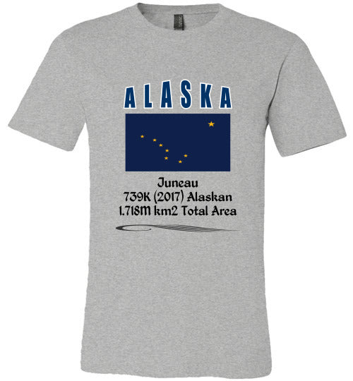 Alaska State Shirt - Flag, Capital, Population, Resident's Name, Total Area - Unisex - Athletic Heather