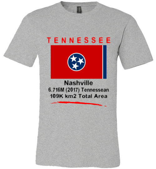 Tennessee State Shirt - Flag, Capital, Population, Resident's Name, Total Area - Unisex - Athletic Heather