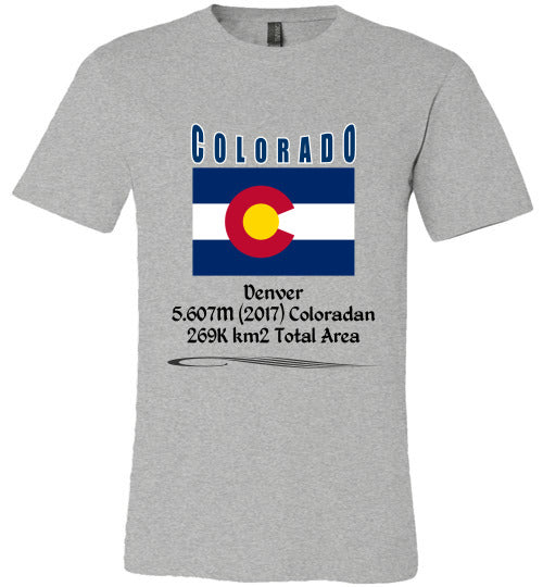 Colorado State Shirt - Flag, Capital, Population, Resident's Name, Total Area - Unisex - Athletic Heather