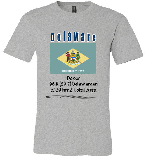 Delaware State Shirt - Flag, Capital, Population, Resident's Name, Total Area - Unisex - Athletic Heather