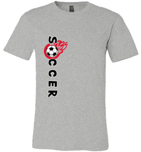 Sports Soccer Niche T-Shirt - Soccer Flame - Athletic Heather