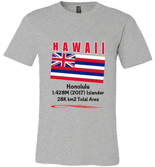 Hawaii State Shirt - Flag, Capital, Population, Resident's Name, Total Area - Unisex - Athletic Heather