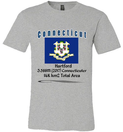 Connecticut State Shirt - Flag, Capital, Population, Resident's Name, Total Area - Unisex - Athletic Heather