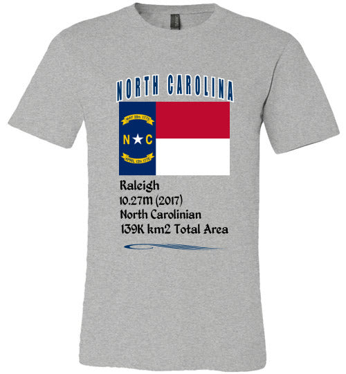 North Carolina State Shirt - Flag, Capital, Population, Resident's Name, Total Area - Unisex - Athletic Heather