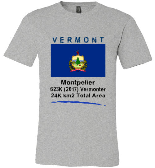 Vermont State Shirt - Flag, Capital, Population, Resident's Name, Total Area - Unisex - Athletic Heather