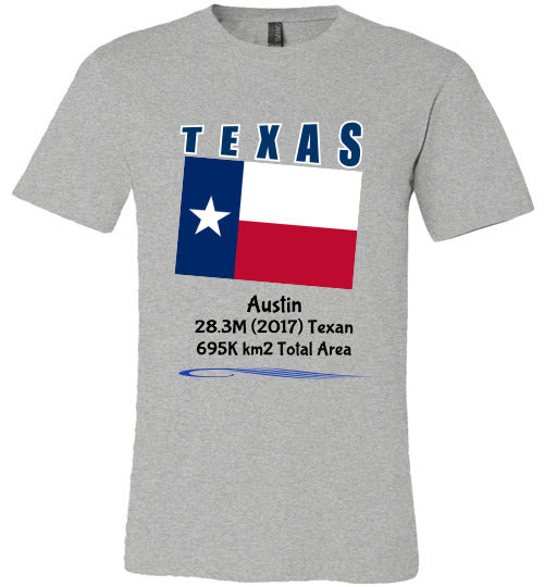 Texas State Shirt - Flag, Capital, Population, Resident's Name, Total Area - Unisex - Athletic Heather