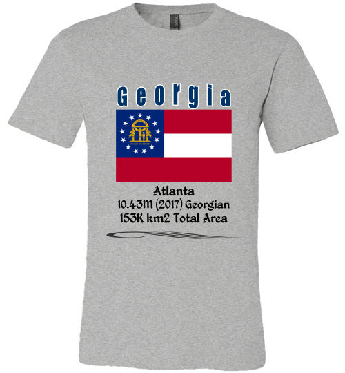 Georgia State Shirt - Flag, Capital, Population, Resident's Name, Total Area - Unisex - Athletic Heather