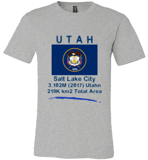 Utah State Shirt - Flag, Capital, Population, Resident's Name, Total Area - Unisex - Athletic Heather