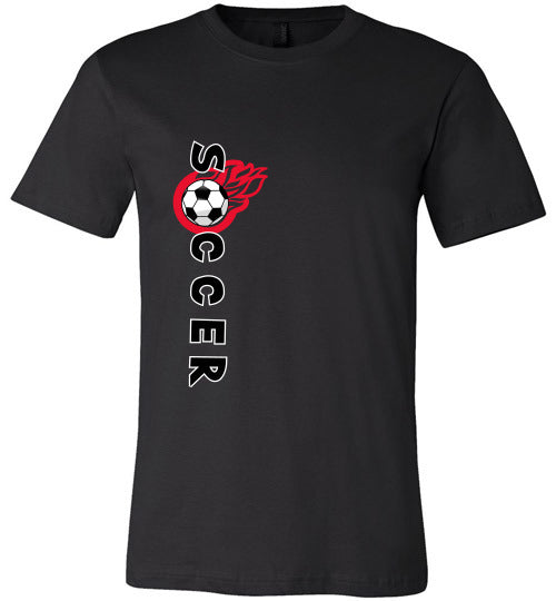 Sports Soccer Niche T-Shirt - Soccer Flame - Black