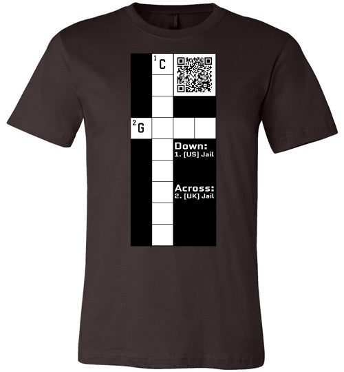 Unisex Canvas T-Shirt | CPZ001 Crossword Puzzle - Jail - Brown