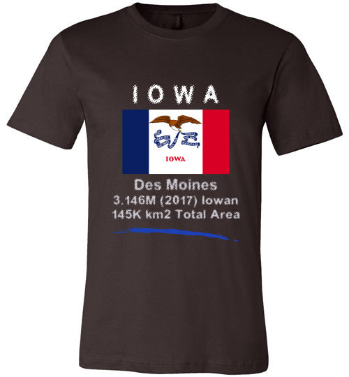 Iowa State Shirt - Flag, Capital, Population, Resident's Name, Total Area - Unisex - Brown