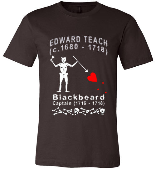 Pirates T-Shirt | Edward Teach / Edward Thatch Blackbeard - Brown