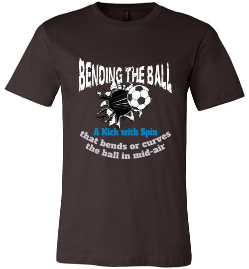 Sports Soccer Niche T-Shirt - Bending The Ball - Brown