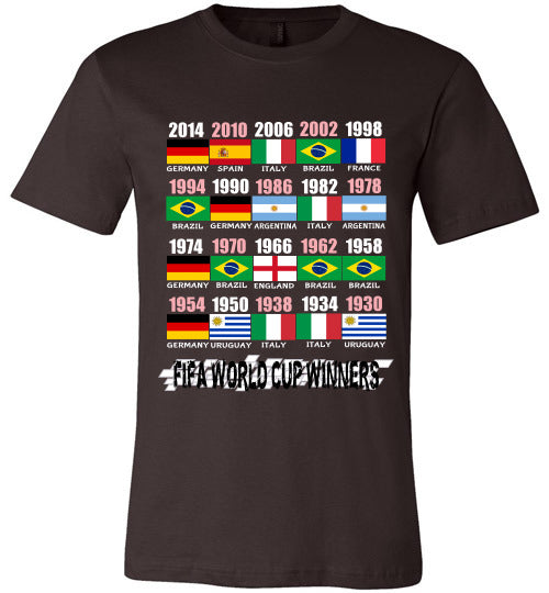 Sports Soccer Niche T-Shirt - FIFA World Cup Winners With Flag (1930 - 2014) - Brown