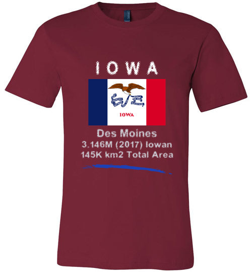 Iowa State Shirt - Flag, Capital, Population, Resident's Name, Total Area - Unisex - Cardinal