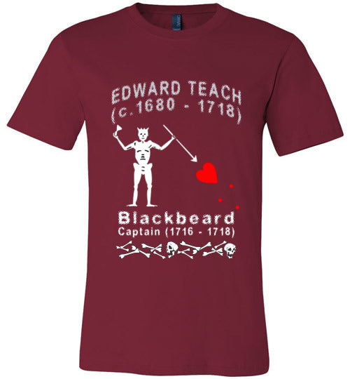 Pirates T-Shirt | Edward Teach / Edward Thatch Blackbeard - Cardinal