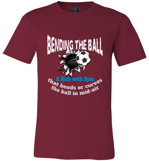 Sports Soccer Niche T-Shirt - Bending The Ball - Cardinal