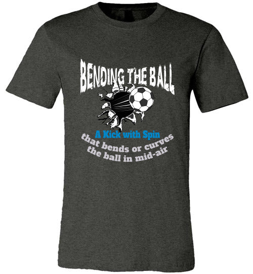 Sports Soccer Niche T-Shirt - Bending The Ball - Dark Grey Heather