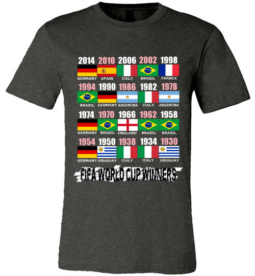 Sports Soccer Niche T-Shirt - FIFA World Cup Winners With Flag (1930 - 2014) - Dark Grey Heather