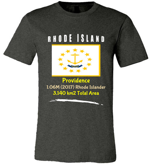 Rhode Island State Shirt - Flag, Capital, Population, Resident's Name, Total Area - Unisex - Dark Grey Heather