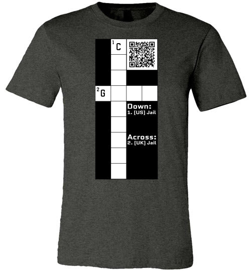 Unisex Canvas T-Shirt | CPZ001 Crossword Puzzle - Jail - Dark Grey Heather