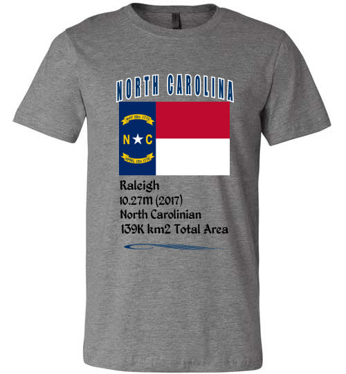 North Carolina State Shirt - Flag, Capital, Population, Resident's Name, Total Area - Unisex - Deep Heather