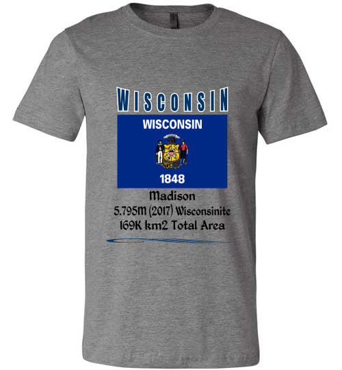 Wisconsin State Shirt - Flag, Capital, Population, Resident's Name, Total Area - Unisex - Deep Heather