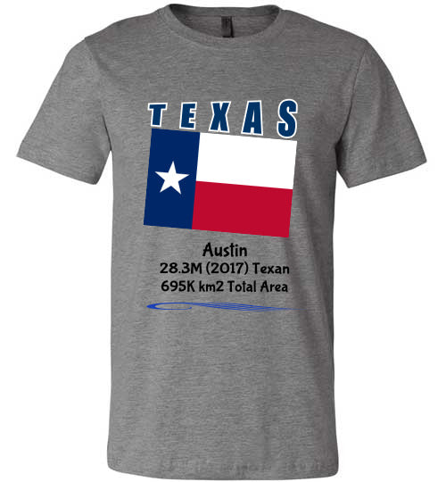 Texas State Shirt - Flag, Capital, Population, Resident's Name, Total Area - Unisex - Deep Heather