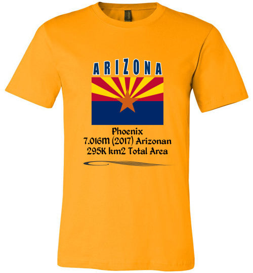 Arizona State Shirt - Flag, Capital, Population, Resident's Name, Total Area - Unisex - Gold