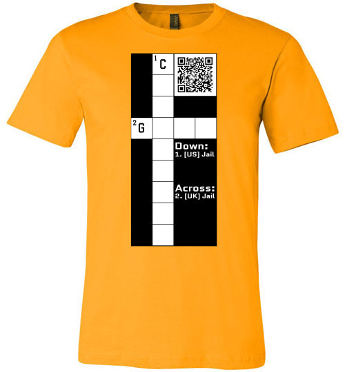 Unisex Canvas T-Shirt | CPZ001 Crossword Puzzle - Jail - Gold